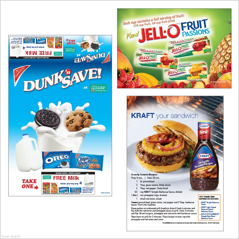 Janet Dodrill – Promotions Agency for Kraft Foods – Grocers' Counter Display & Coupon, Ads